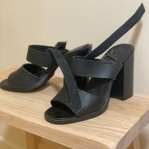 Urban Outfitters Black Chunky Open-Toe Heels